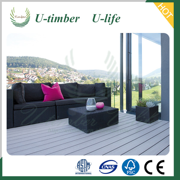 New design cheap waterproof hollow black wood plastic composite decking