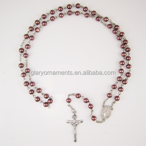 Catholic items 6mm brown glass prayer beads rosaries