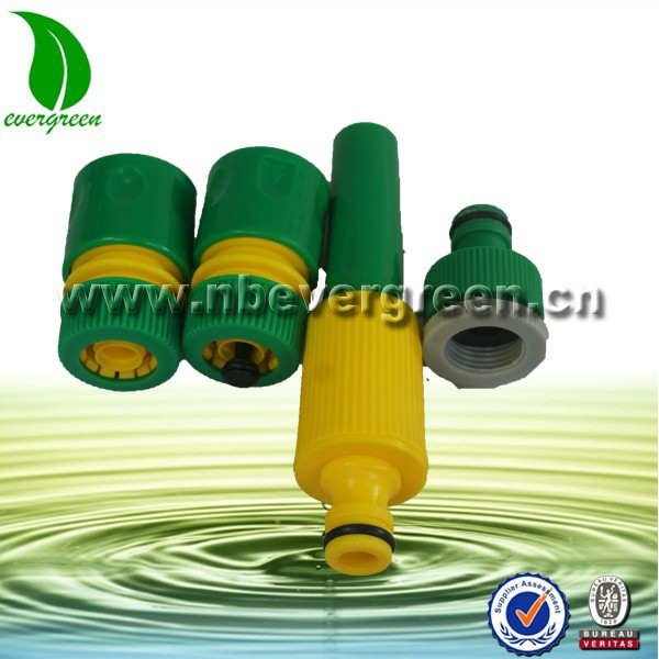 Hose Nozzle AND 5 Piece Connector Set Garden Water Hose Pipe Tap Adaptor Adapter