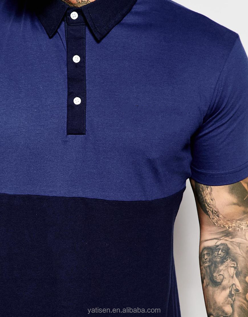 Wholesale New Design Polo Shirts For Man Dark Blue With Black Man