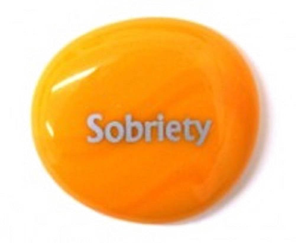 Sobriety Colored Glass Imprinted Recovery Sobriety Stones