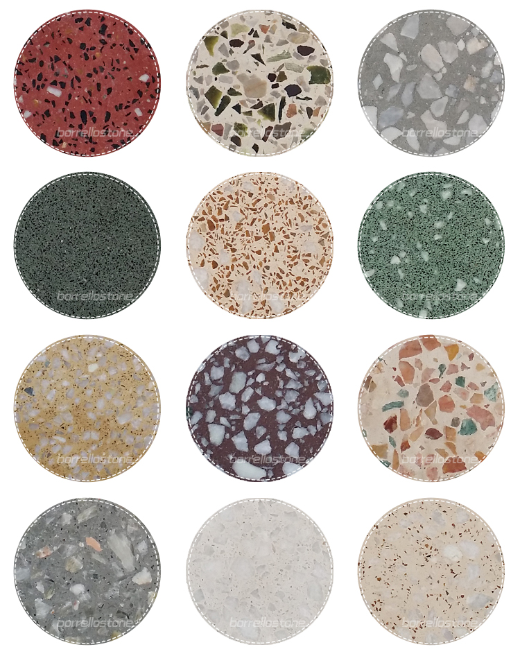terrazzo tile with color marble chips