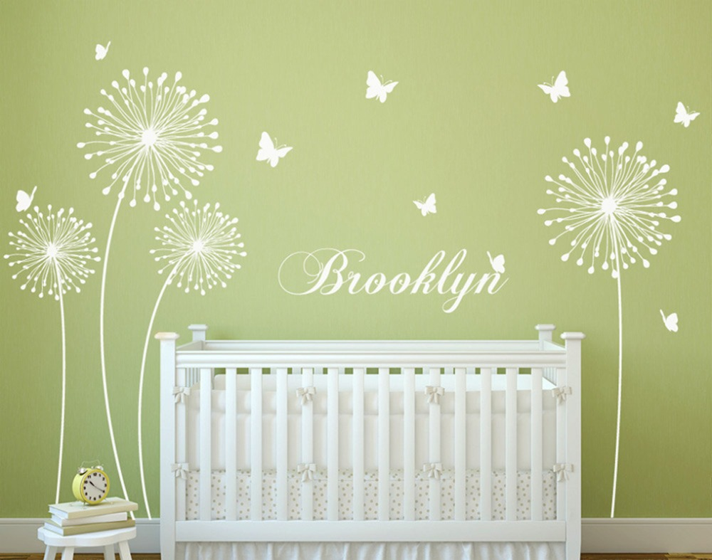 Butterfly-Dandelion-wall-decal-Custom-Name-with ...