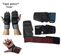 2016 Gymnastics genuine leather wrist wraps with palm grips crossfit sports girps fitness gloves equipments