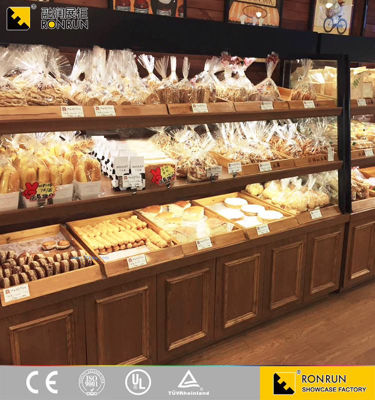 Wooden bread display stand display bread showcase