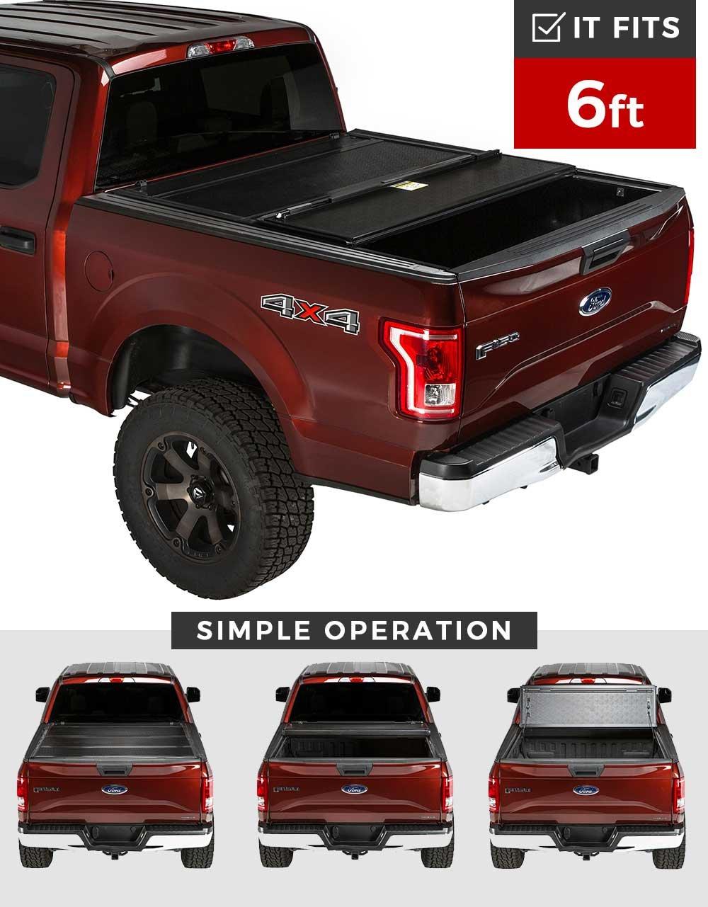 5c5e582569a Get Quotations · Premium Hard Folding Aluminum Tonneau Cover Toyota Tacoma  2016-2017 6 ft Bed