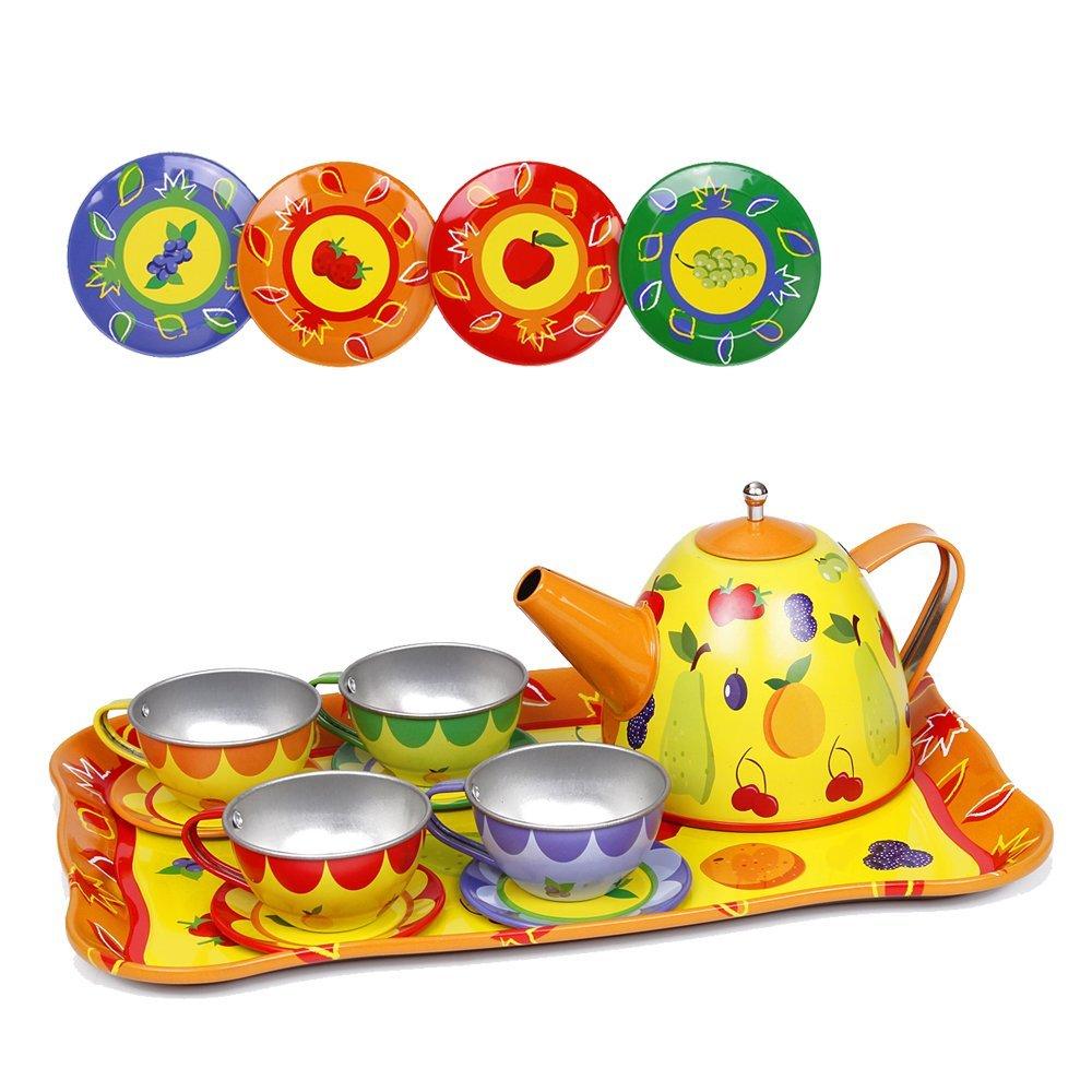 Kidcia Pretend Play Toys 14 Pcs Miniature Tin Tea Set with Teapot & Tea Cups & Saucers & Plates & Tray for Kids, Fruit Design Tea Party Set for Toddlers, Yellow