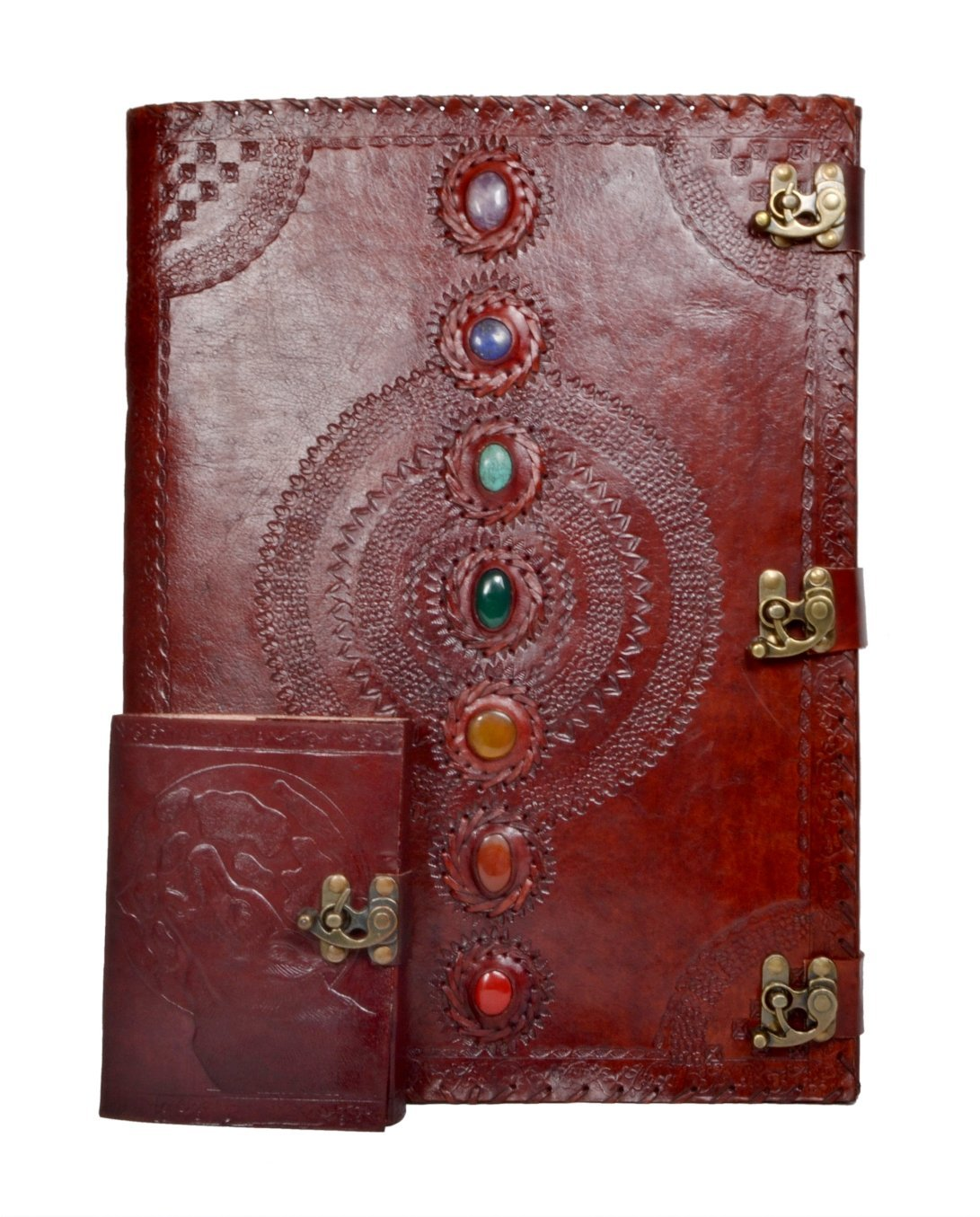 Leather Journal Seven Chakra Medieval Stone Embossed Diary with Moon Wolf Embossed Handmade Notebook Travel For Men & Women Antique Quality Paper Perfect for Notes Sketchbook