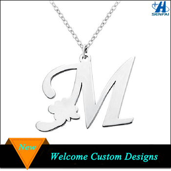 Latest Design Stainless Steel Initial Capital Letter M Pendant Necklace For Promotion