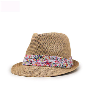 4fd1769bcf7 Personalized promotional custom logo band women paper straw fedora hats  wholesale white fedora hats for men