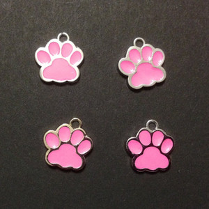 China wholesale zinc alloy pink enamel 14 x17mm paw print charms for DIY