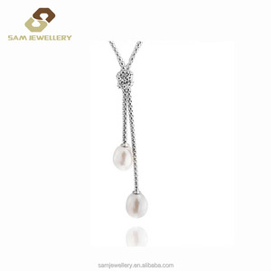 The popular Chinese-made Zircon And Pearl Inlaid Knot Style 925 Sterling Silver Female necklace