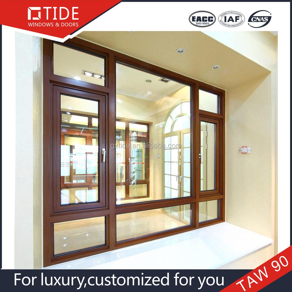 De aluminio de recubrimiento en polvo de color bronce de for Ventanas de aluminio con marco de madera