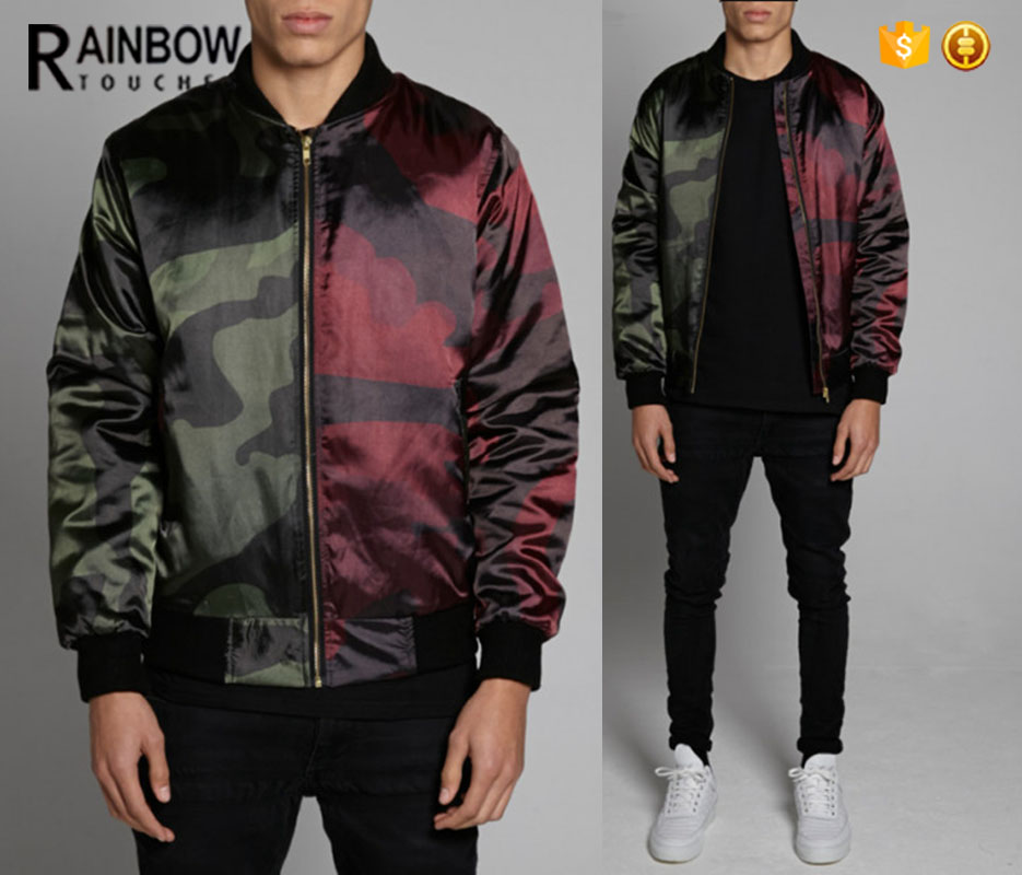 Half Color Camo all over slim bomber varsity jacket with custom service