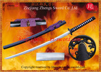 Handmade Quality Samurai Sword with shell inserted saya and handcarved dragon on the blade