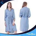 High quality long sleeve loose denim new model summer women casual dresses