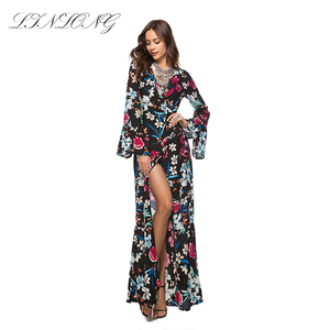 Women Dresses Casual Dress Party Wear Gowns Knee Length Cheap Clothing with Sleeves and Printed Fabric