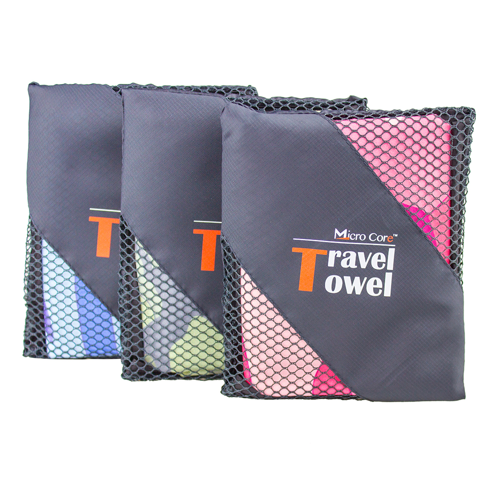 2017 Hot sale high quality customized microfiber travel towel with mesh bag