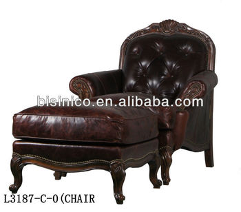 Antique Home Single Sofa Chair High Quality Sofa Chair With Square Taboret American Home