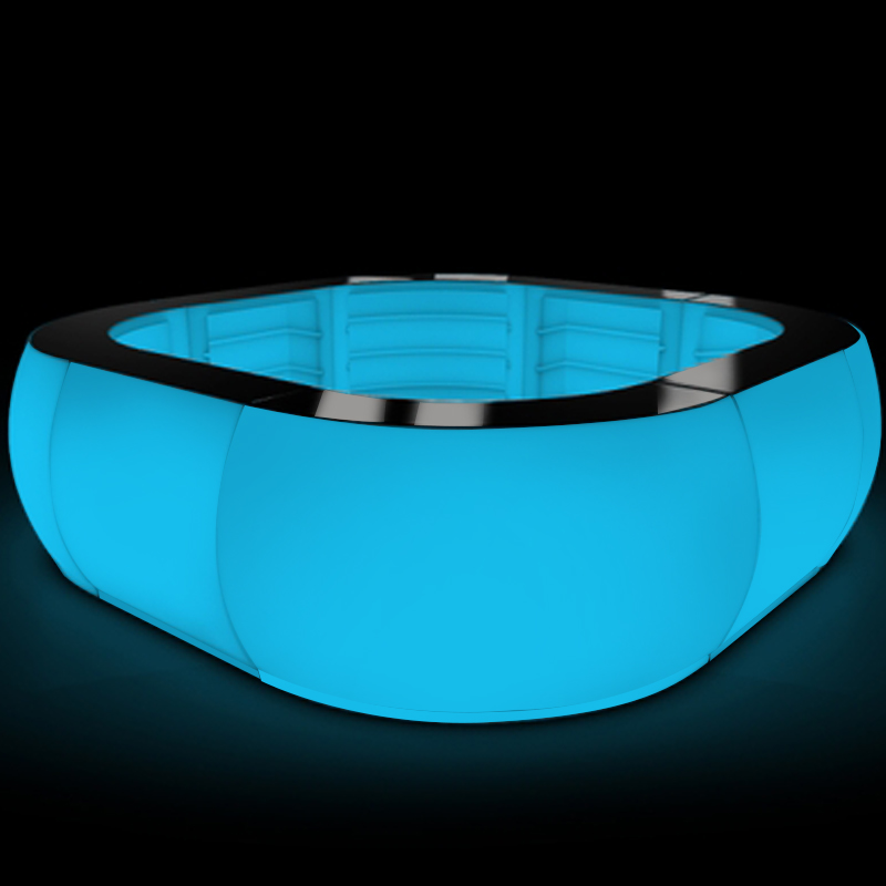 Modern LED furniture nightclub top glass portable led light round bar table