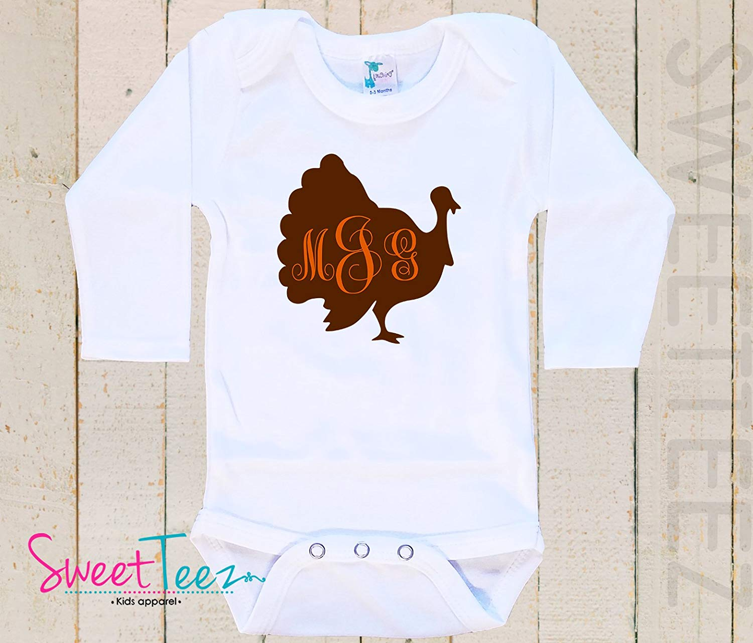 9f00fd46f883 Turkey Shirt Personalized Monogram Thanksgiving Baby Bodysuit Baby Girl Boy