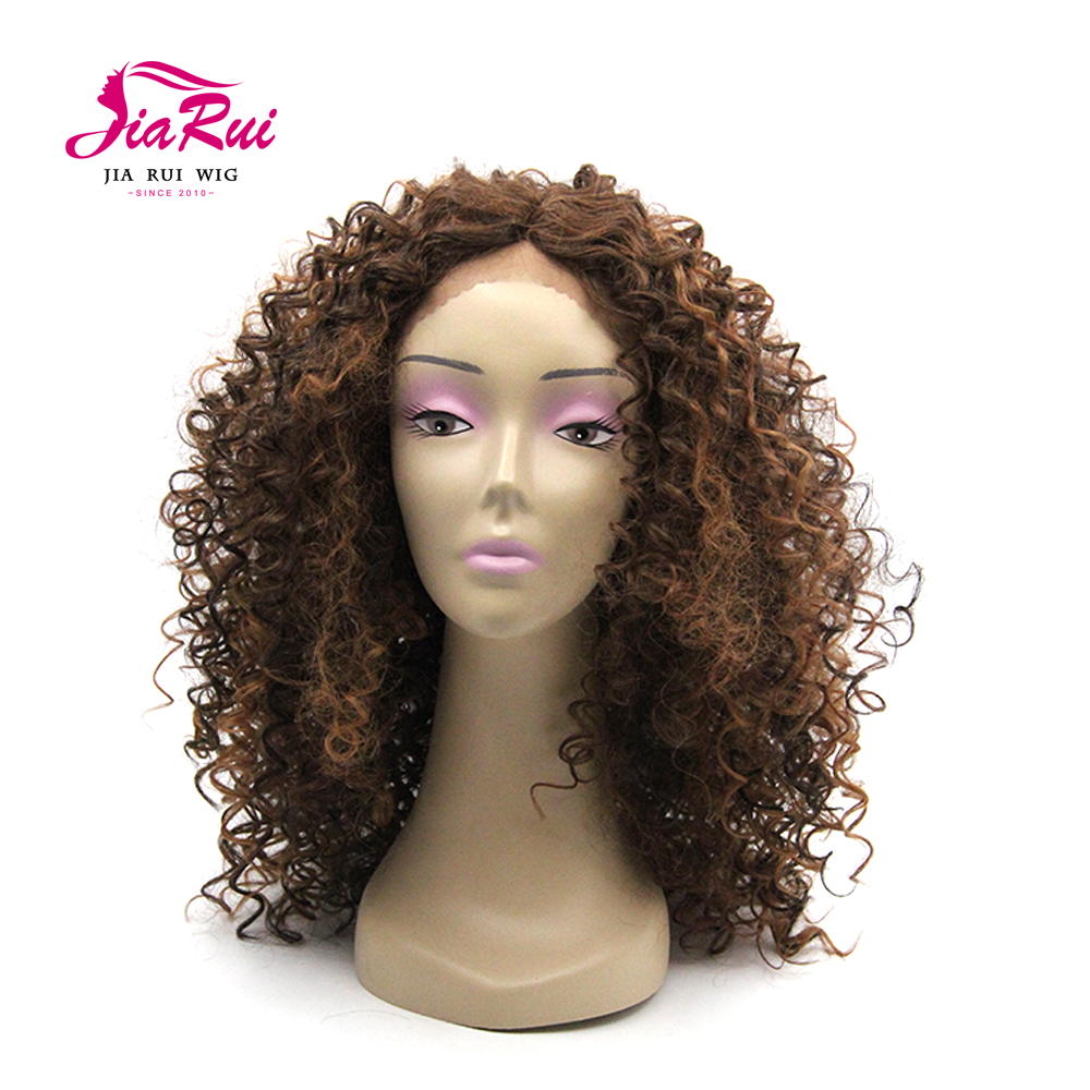 Synthetic Afro Curly Hair Wigs Brown Blonde Ombre Wig lace front Curly Wigs for Black woman