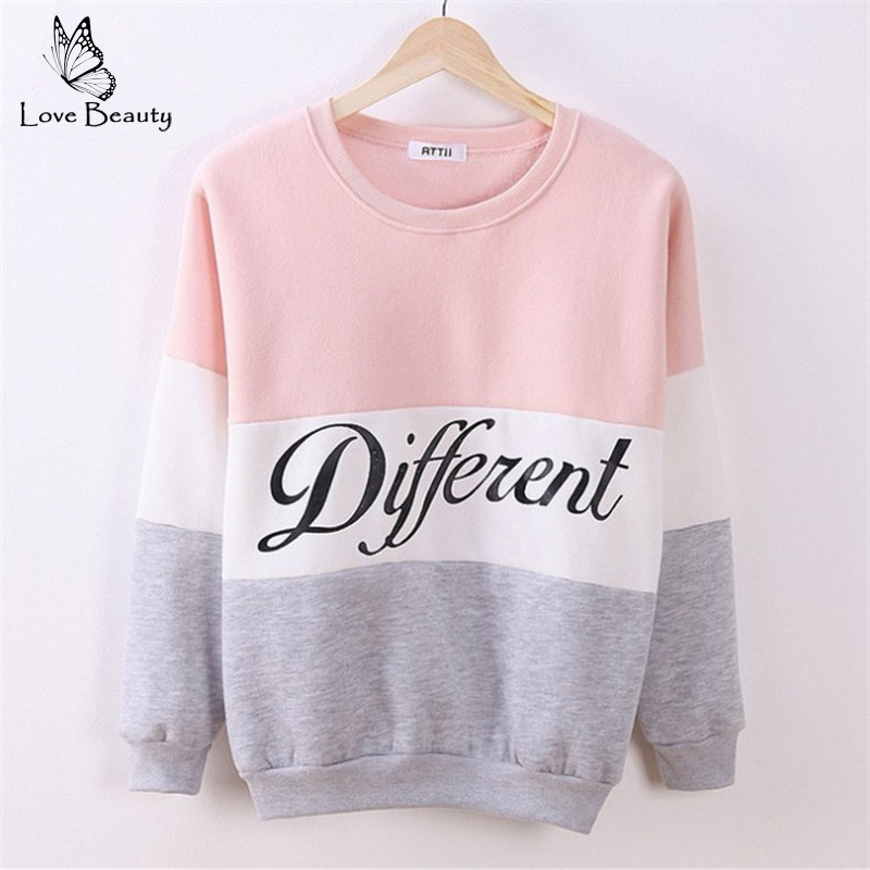 2015 Autumn and winter women fleeve hoodies printed letters Different women s casual sweatshirt hoody sudaderas