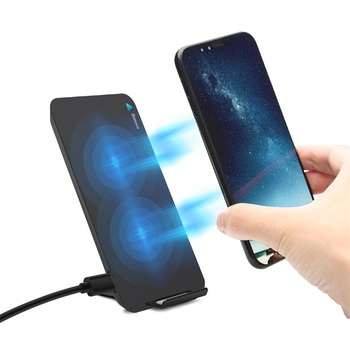 Wireless Charger Pad Stand With Double Coils Desktop Holder