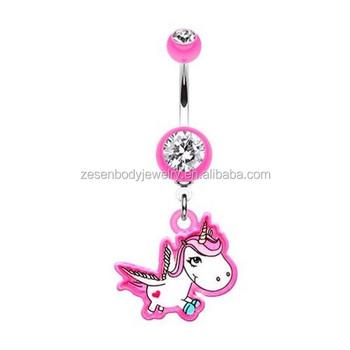 Cute Pink Unicorn Dangle Belly Bar Ring Navel Piercing Body Jewelry Buy Belly Bar Ring Cute Navel Ring Navel Piercing Jewelry Product On Alibaba Com