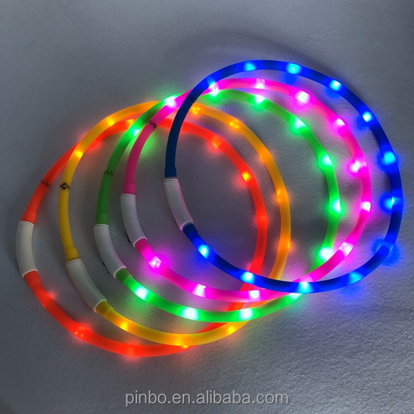New USB Rechargeable Silicone Led Pet Collar