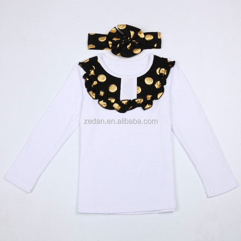 Autumn outfit warmth Baby sets wholesale ruffle raglan shirts with polka dots headband kids boutique outfits