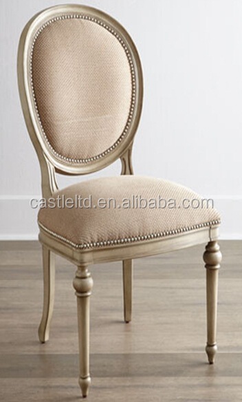 Exceptional Vintage Style Solid Hard Wood French Dining Chair,upholstered Round Back  And Seat Side Chair