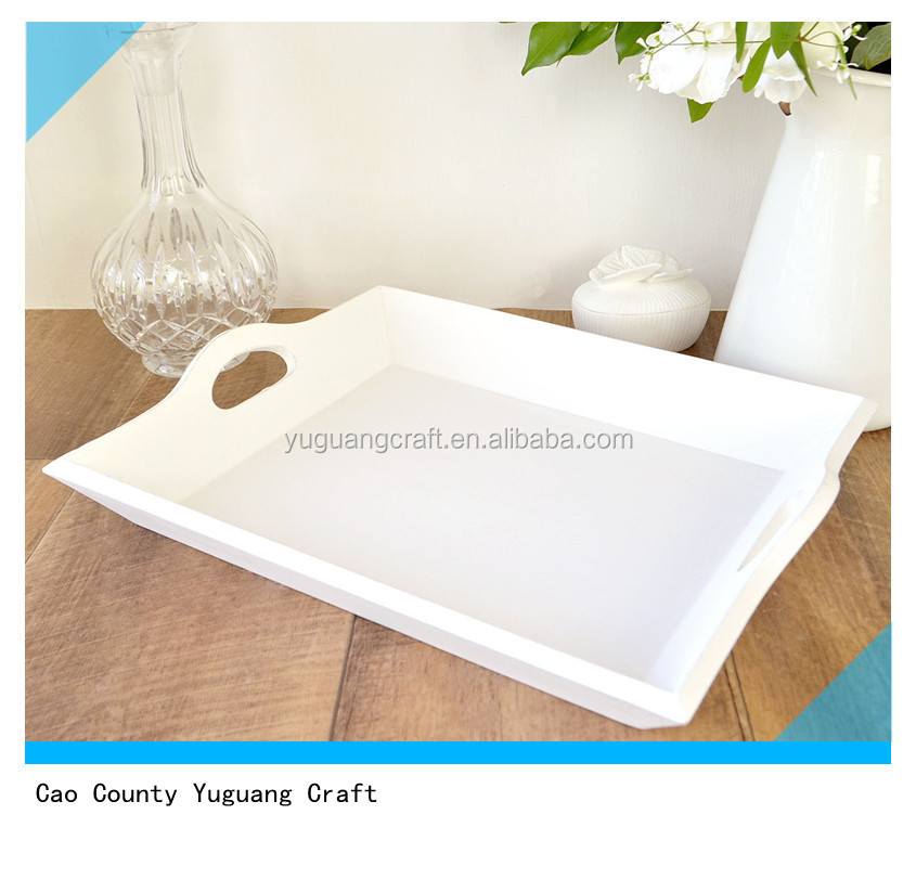 Set 2 White Painted Wooden Serving Trays With Handles