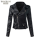TONGYANG Casual PU Leather Jacket Women Classic Zipper Short Motorcycle Jackets Lady Autumn Soft Leather Basic Coat Black