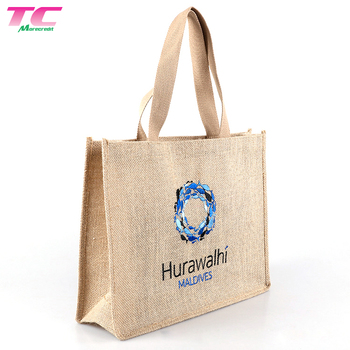 Promotional Recycled Burlap Flax Linen Beach Bags Custom Hessian Jute Shopping Bag With Cotton Handle