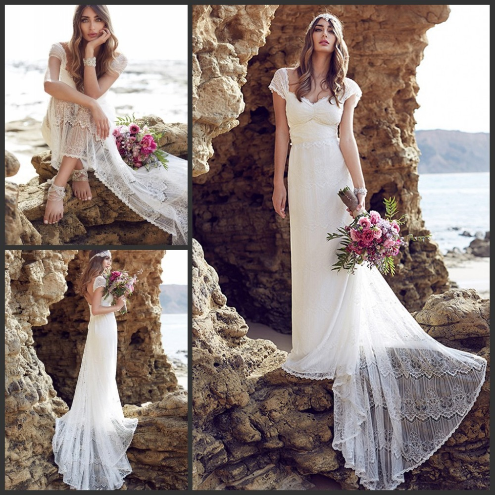 2016 Anna Campbell Lace Beach Wedding Dresses Cap Sleeves ...