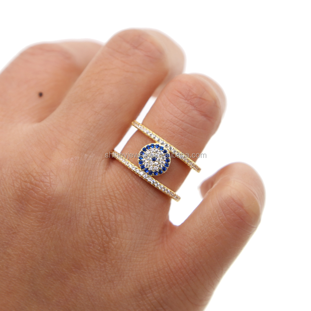 top quality micro pave white blue cz evil eye disco H shape women finger gold wedding ring