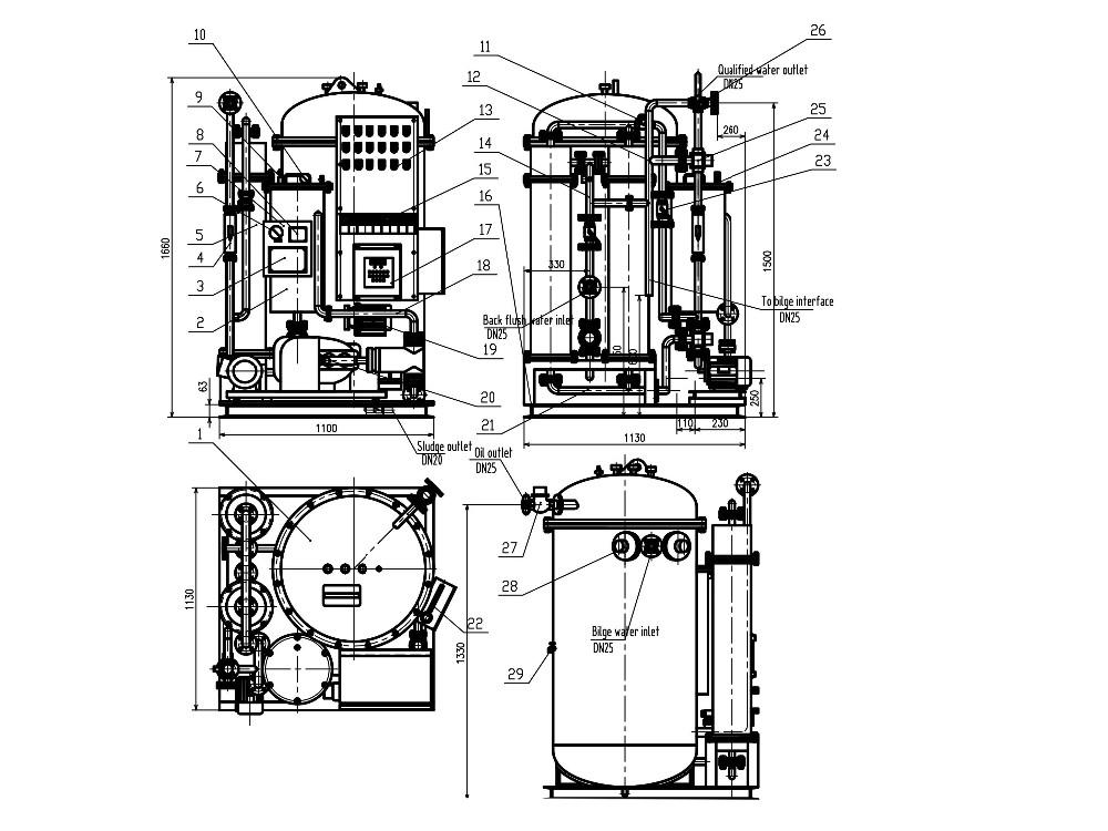 ywc-1 00m3  h marine oily water separator