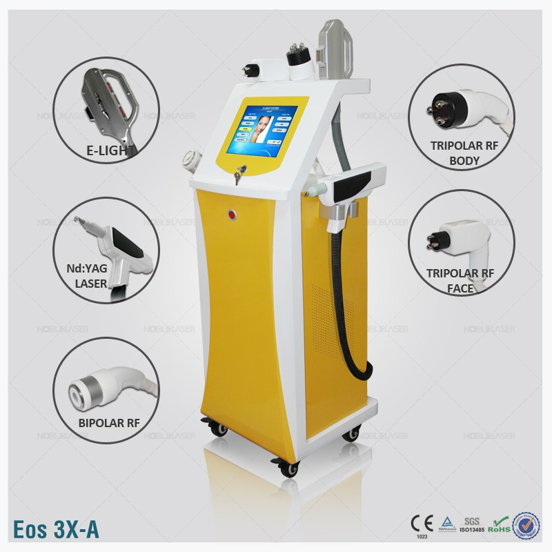 (Eos-3X-A) 4 in1 multifunctional beauty equipment IPL RF Elight system ND YAG/Q SWITCH laser tattoo removal