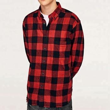 3b1076d7044 Мужская Кнопка вниз воротник красный черный клетчатая фланелевая рубашка