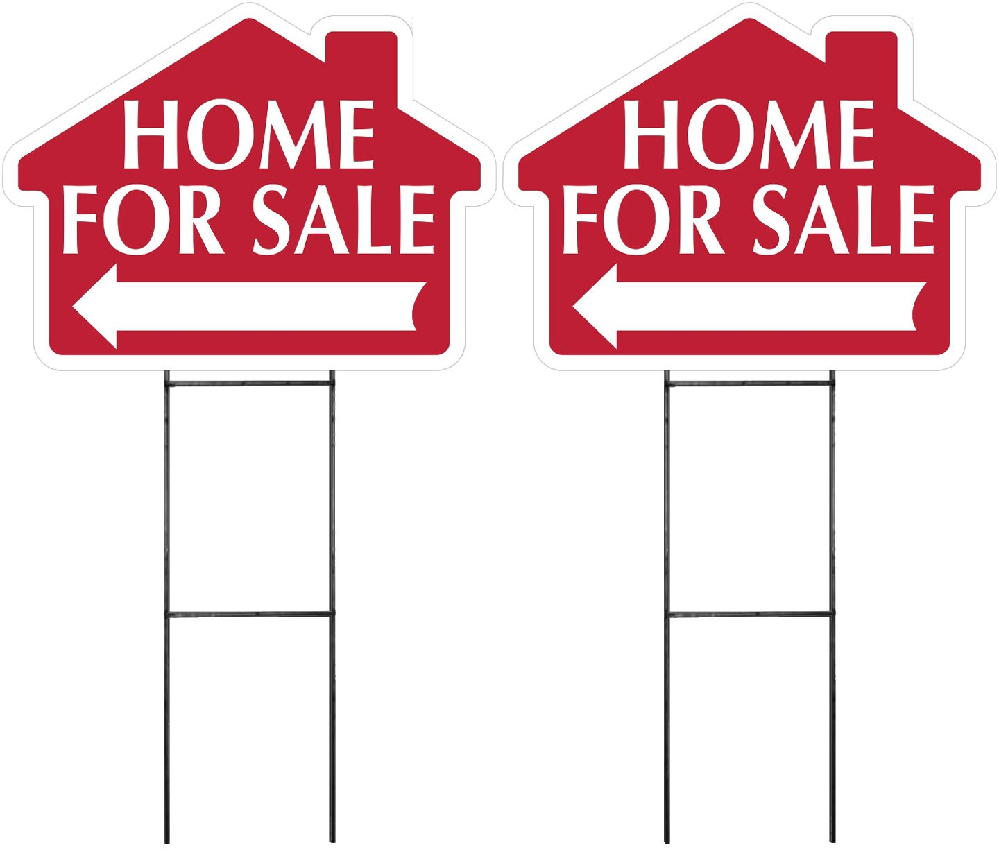 """HOME FOR SALE Sign with Arrow 2 Pack - RED -House Shape Corrugated Sign Kit INCLUDES 24"""" Sign Stake"""