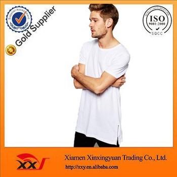 Side Moda Extra Zip Blanco Para En Largas Camisetas Hombre Camiseta xgUqpXg7