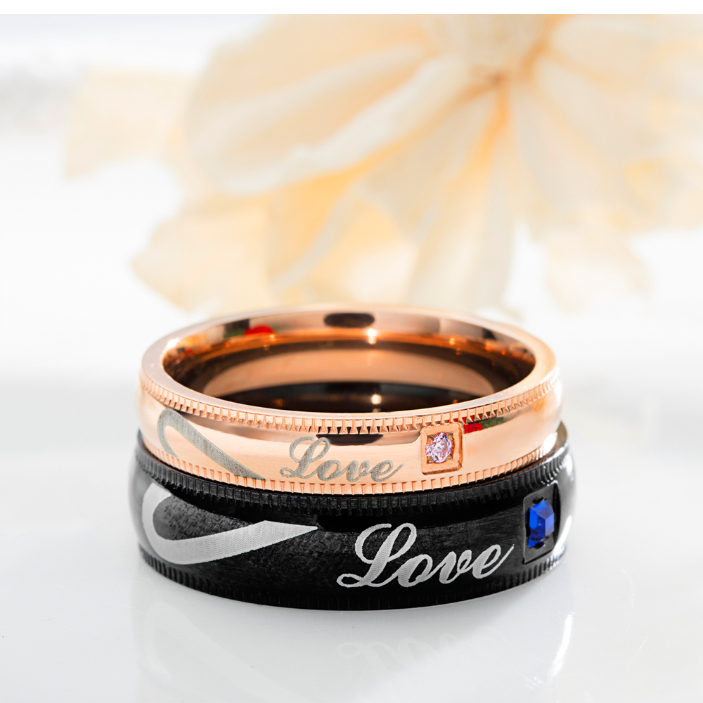 Valentine Gift Custom Stainless Steel Cz Love Heart Design Couple Ring