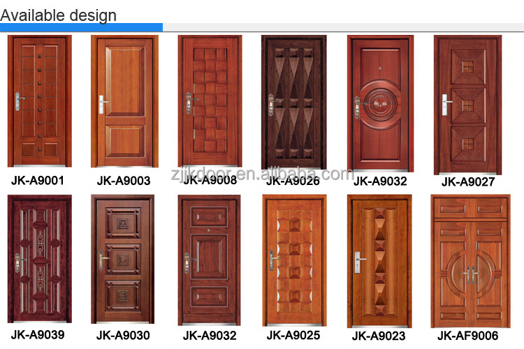 JK A9008 Latest design exterior door single door designs steel wooden  armored door. Jk a9008 Latest Design Exterior Door single Door Designs steel