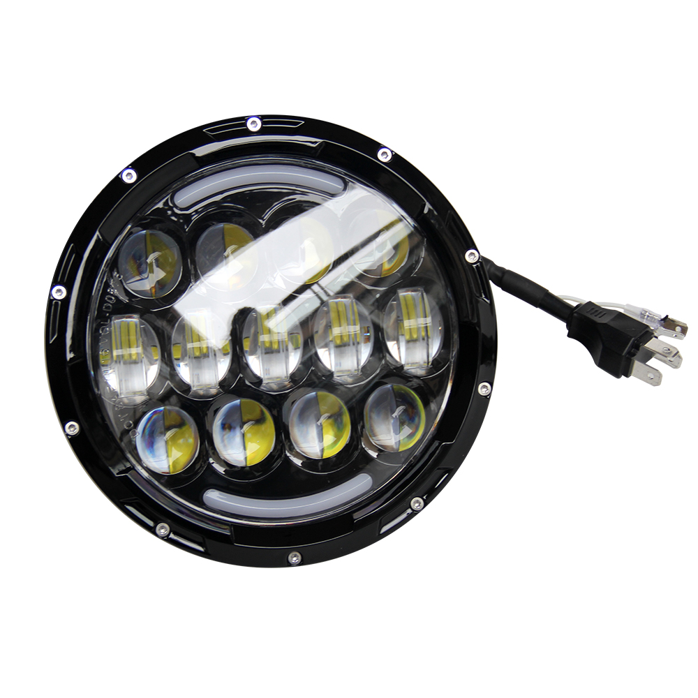Factory Motorcycle Accessories Driving Light 75W 7 Inch Round LED Headlight for Jeep Wrangler