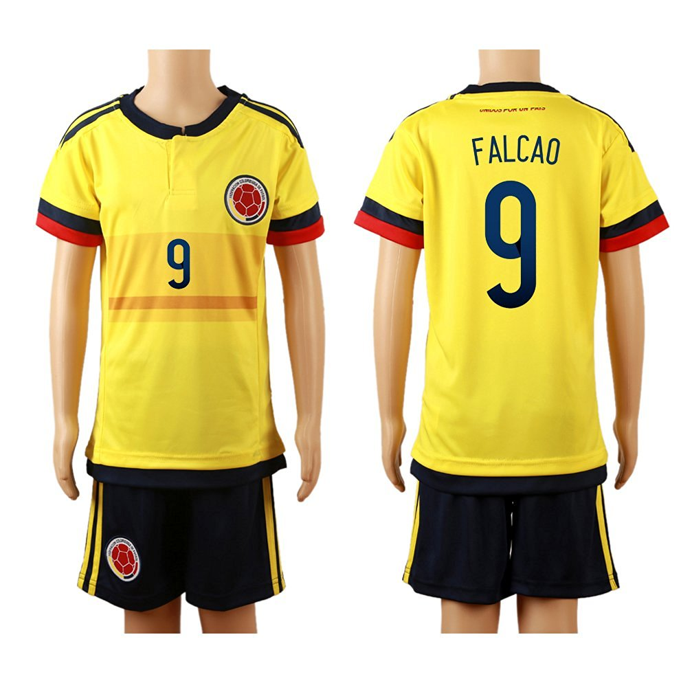 50bf89743ba Get Quotations · 2015 16 Colombia Yellow (Home)  9 Radamel Falcao Football Soccer  Kids Jersey