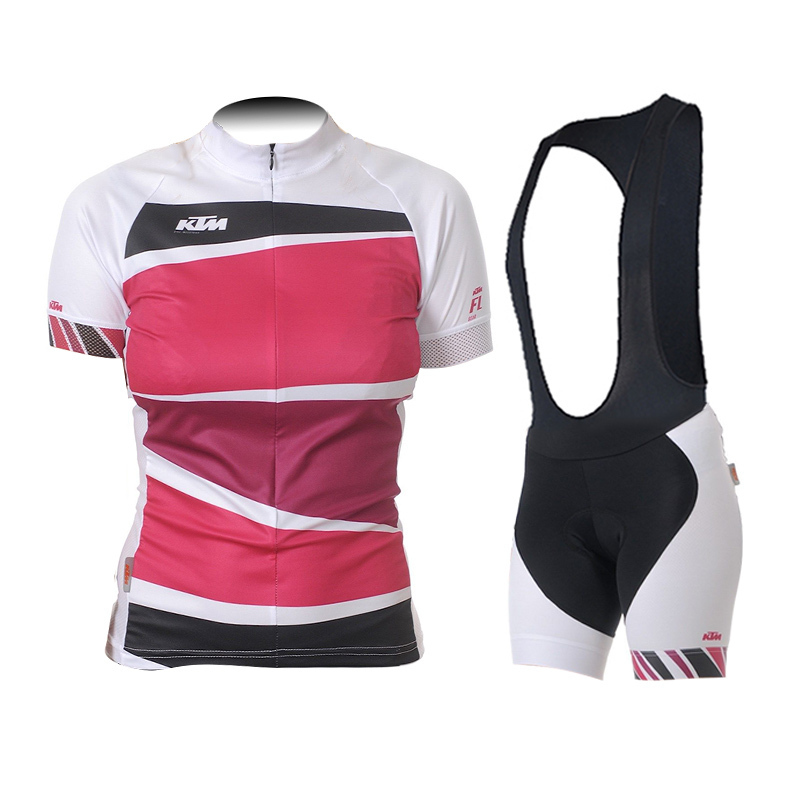 cycling jersey ktm maillot ciclismo pink women /girls suitable for riding bicycle short sleeve+bib short suits 2015 popular mtb