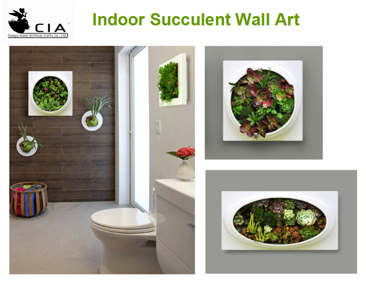 Living Wall Art Artificial Succulents Plants Hanging Picture For Sell