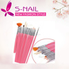 Hot sell pink 15pcs nail brushes wholesale, nail brush set, nail art brush