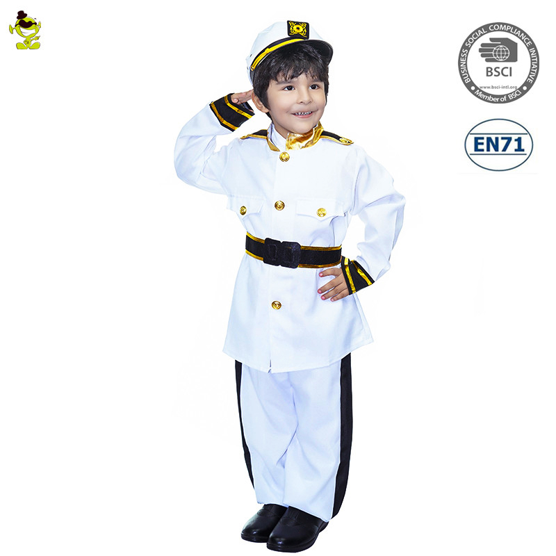 New Design Popular Little Policeman Costumes Handsome White Cosplay Halloween Party Fancy Dress For Party Kids